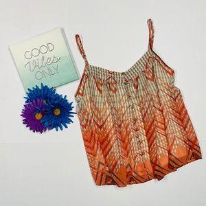 Akiko Orange Print Top / Cami Size M